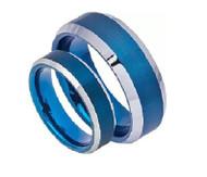 Blue Tungsten Ring Set