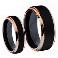 Titanium Black Rose Gold Ring Set