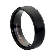 8MM Black Tungsten Ring Brushed center