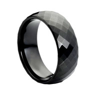 Black Faceted Tungsten Ring High Polished