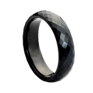 Black Faceted Tungsten Ring High Polish