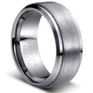 Tungsten Brushed Ring Solid Tungsten Carbide