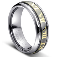 Tungsten Brushed Ring Gold Plated Roman Numbers Laser Engraved