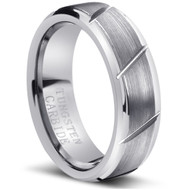 Tungsten Brushed Ring Carbide Multiple Diagonal Grooves Brushed
