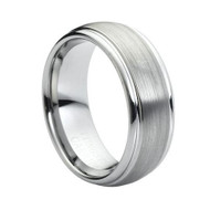Tungsten Brushed Domed Ring