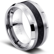 """Tungsten Ring """" Carbon fiber Inlay High Polished"""""""