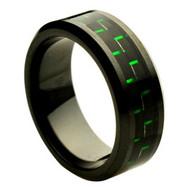 Black Ceramic Ring Green Carbon Fiber Inlay