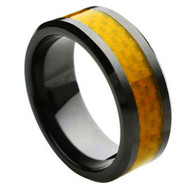 Black Ceramic Ring Yellow Carbon Fiber Inlay