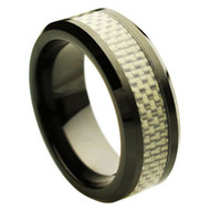 Black Ceramic Ring Silver Carbon Fiber Inlay