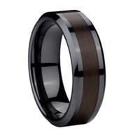 Black Ceramic Ring Wood Carbon Fiber Inlay
