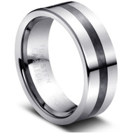 """Tungsten Ring With """"Black Carbon Fiber Inlay """""""