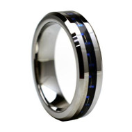 """Tungsten Ring With """"Blue Carbon """" Fiber Inlay"""