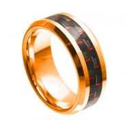 Tungsten Rose Gold Ring With Black & Red Carbon Fiber Inlay