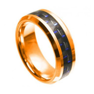 Tungsten Rose Gold Ring With Black & Blue Carbon Fiber Inlay