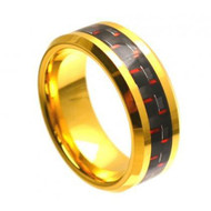 Tungsten Plated Gold Ring With Black & Red Carbon Fiber Inlay
