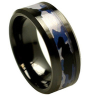 Black Ceramic High Polish Finish Military Blue & Gray Camouflage