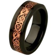 Black Ceramic High Polish Finish Rose Gold Celtic Dragon Inlay