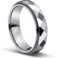 Faceted Tungsten Ring amazing wide comfort fit