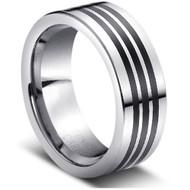 "Tungsten Ring "" Black Inlay"""