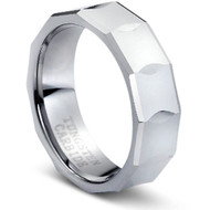 Faceted Comfort Fit Tungsten Ring