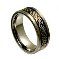 Laser Engraved Black Center Tungsten Rings