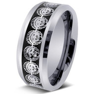 Laser Engraved Head Of Indian Chief Tungsten Ring