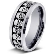 Laser Engraved Skull Calavera Tungsten Ring