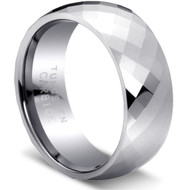 Faceted Tungsten Comfort Fit Tungsten Rings