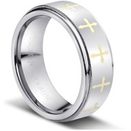 """TUNGSTEN CROSS RING """" MATTE & HIGH POLISHED"""""""