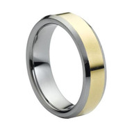 """Tungsten Ring """" High Polished """" Shiny Gold Plated Center"""