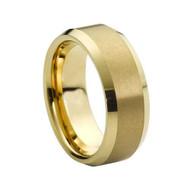 Gold Brushed Beveled Edge Tungsten Ring
