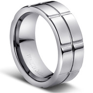 "TUNGSTEN RING "" High polished Square Grooved """