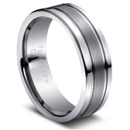 """TUNGSTEN RING """" Matte & High polished"""" Deep polished cuts"""