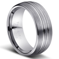 """TUNGSTEN RING """" Matte & High polished"""" deep polished cut"""