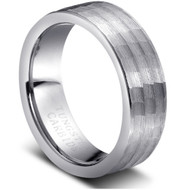 Grooved Tungsten Rings Hammered Finish