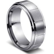 Tungsten Carbide Multiple Vertical Grooves Brushed Center