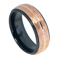 8mm Tungsten Two-tone Black IP Inside & Rose Gold IP Hammered Finish