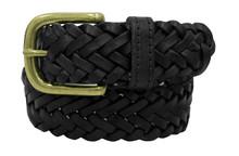 Black Braided Leather Belt