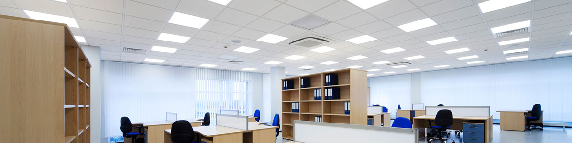 Large office with paneled ceiling and overhead lights