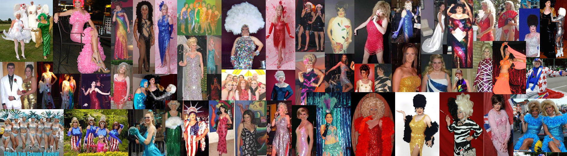 Dragqueens and Transvestites wearing gowns and dresses made by SequinQueen