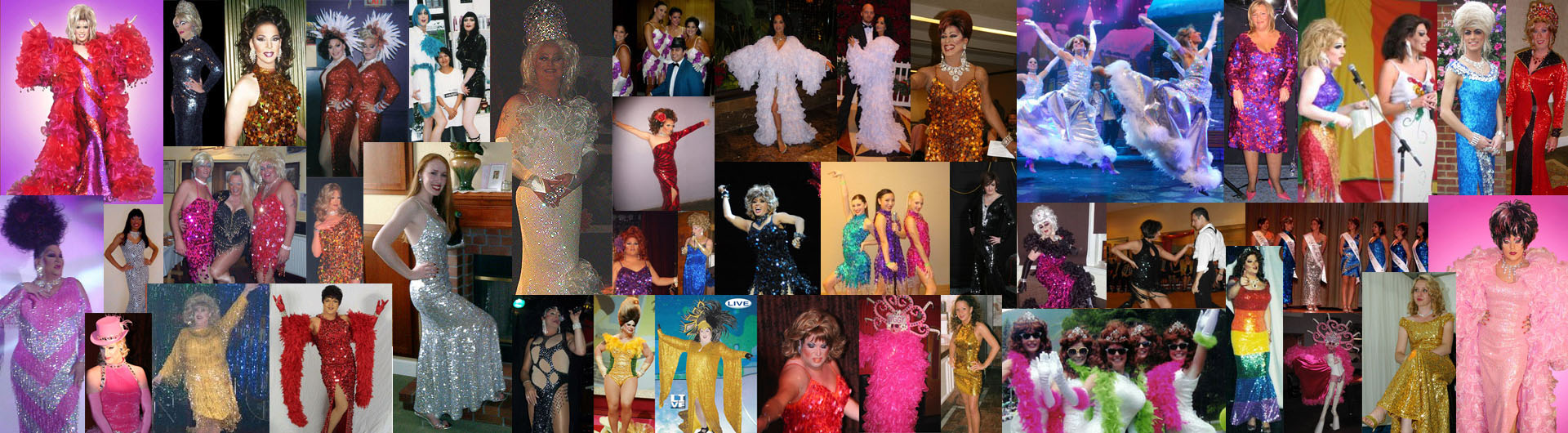 Pictures of women wearing sequin gowns and dresses made by SequinQueen