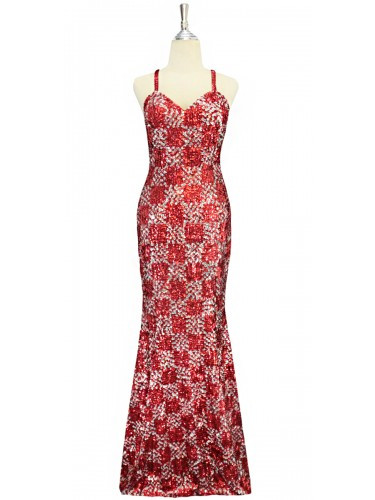 A long handmade sequin dress, in 8mm cupped metallic red and silver sequins, geometric pattern dress front view