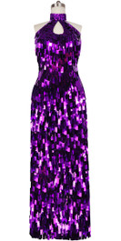Long Handmade Rectangular Paillette Sequin Gown in Metallic Purple with Keyhole Neck Front View