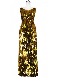 Long Handmade Rectangular Paillette Sequin Gown in Metallic Gold Front view