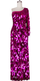 Long Handmade Paillette Sequin Gown in Metallic Fuchsia with One-Sleeve Cut Front view