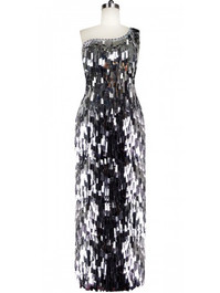 Long Handmade Paillette Sequin Gown in Metallic Silver with One-Shoulder Cut front view