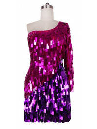 Short Handmade Rectangle Paillette Sequin Dress in Metallic Fuchsia and Purple and a One-Sleeve Cut front view