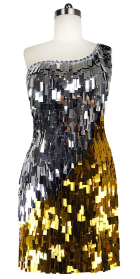 Short Handmade Rectangle Paillette Sequin Dress in Gold and Silver with One-shoulder Cut front view