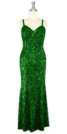 Long Handmade 8mm Cupped Sequin Dress in Metallic Emerald Green front view