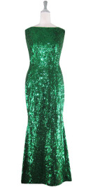 Long Cowl Back Handmade 8mm Cupped Sequin Dress in Metallic Emerald Green  front view